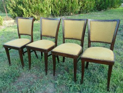 4 db antik Art Deco szék szép és jó állapotban vastag szövet kárpittal