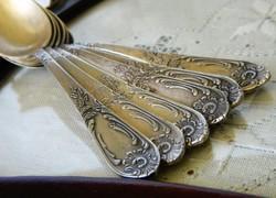 Gyönyörű mintázatú régi ezüstözött  desszertes kanál 6 db