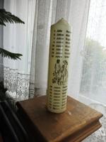 Esküvői gyertya emléknapokkal 25 cm magas, 6cm átmérő