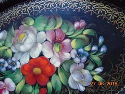 Orosz ZHOSTOVO gazdag virágmintás kézzel festett hagyományos kézműves fémtálca