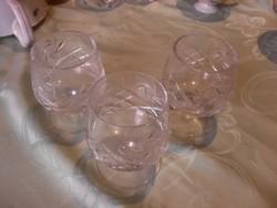 Konyakos kristály pohár 3 darab