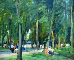 Fáy Győző/ 1918-2005/: Parkban sétálók