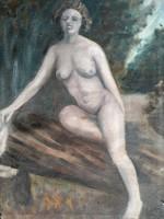 XX.sz. magyar festő Pajor Ferenc: női akt kép keret nélkül 1960 körül