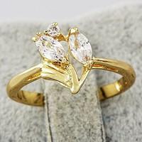 Kiárusítás! 14 K töltött arany ,  fehér CZ köves gyűrű