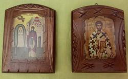 Antik fa ikonpár