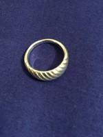 Ezüst, bordázott gyűrű, 52-es, jelzett  (NB)