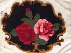 Régi rózsás kézimunka, gobelin - handmade NB