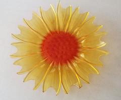 Retro üvegtál napraforgó tál virág dísztál 40 cm