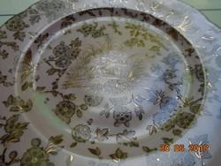Különleges Rózsaszín mázas aranykontúrozott antik madár-rovar mintás tányér-20,8 cm