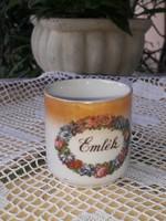 Zsolnay Emlék  feliratos, lüsztermázas kávés csésze