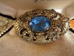 Antik filigrán bross kék kövekkel