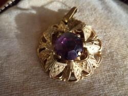 Antik filigrán medál lila kővel