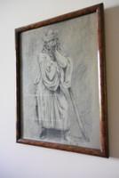 Antik grafika juhász portré art deco keretben
