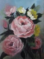 Rózaszín rózsacsokor című  festmény, csendélet