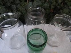 4 db régi üveg 2 - 2 - 2 - 1 liter széles szája miatt sütitartónak - dekorációnak is alkalmas.
