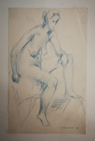 Szőnyi István tanítványától, Juhász Erikától 1926-2018 kék ceruza rajz 1966ból. 26x42cm