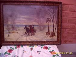BENYOVSZKY: vágta lovasszekérrel festmény!