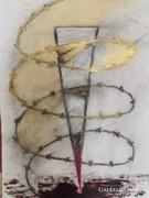 Kortárs pasztell kép, absztrakt festmény_Erőszak címmel