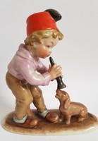 Régi Bertram porcelán Furulyás kisfiú a Tacsi kutyával