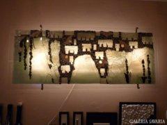 Piszkátor Ildikó: Megfagyott világ - üvegmozaik kép, lámpa