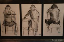 A festő hagyatékából 3 db eredeti Hornyánszky Gyula grafika, szénrajz
