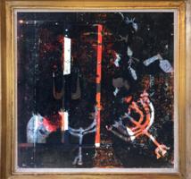 Bálint Endre - Monotípia - Judaika, menóra - 48 x 48 cm