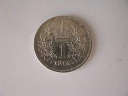 F. József ezüst 1 korona 1914.-patinás