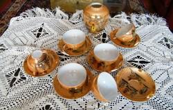 6 személyes japán tojáshéj porcelán kávés készlet