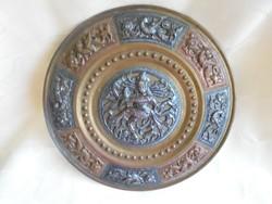Síva figurás réz fali tányér ezüst berakással