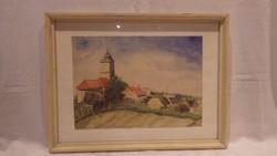 Fodor 1935 falu templommal akvarell festmény