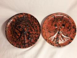 Retro  - Faun - ördög Tófej különleges kerámia fali dísz tányér 2 db