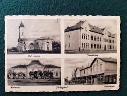 Sárbogárd régi képeslap, Ref. templom, Járásbíróság, Községháza, Vasútállomás
