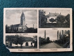 Csikéria régi képeslap, Rom. kat. templom, Plébánia, Hangya, Utca részlet