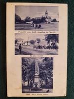 Régi Verpelét Képeslap, templom, piactér, fő utca, 1848-49-es hősök szobra