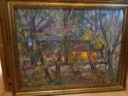 Festmény Orosz Gellért: Fák, házak 20.sz.