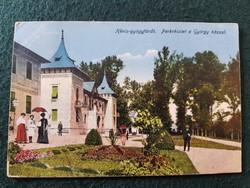 Hévízi Gyógyfürdő régi képeslap, Parkrészlet a György házzal