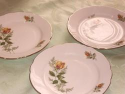 Sárga rózsás tányér 3 darab 19 cm