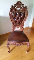 Antik barok faragott 2 db bőr szék