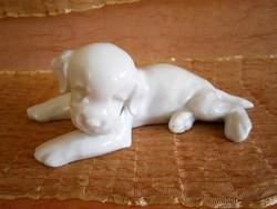 Extrém ritka Theodor Karner (1884-1966) fekvő kutyus, Fox Terrier kutya, Rosenthal porcelán
