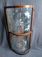Antik íves, lamellás, csiszolt üvegű, gyönyörű hatalmas vitrin elem 50 x 97 cm