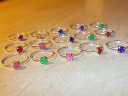 Színes Köves bizsu Gyűrű csomag 15 db-os