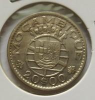 Szép portugál gyarmati ezüst 20 escudos Mozambik 1960.