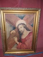 Jézus a kereszttel, akva, keretben