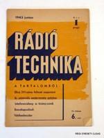 1943 június    /  RÁDIÓ TECHNIKA  /  RÉGI EREDETI ÚJSÁG Szs.:  6604