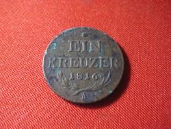 Egy krajcár 1816 A  egy kis patinával
