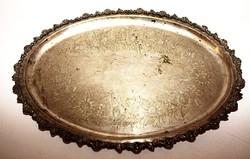 Ezüstözött ovális nagyméretű vésetten díszített  tál