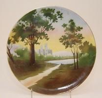 Porcelán tányér várat ábrázoló erdős tájképpel