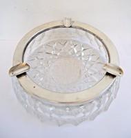 Nagy ezüst szegélyű kristály hamutál
