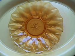Borostyán színű art deco üveg tálca