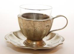 Ezüstözött alpakka kávés csésze. üveg betéttel hibátlan 1920 körül